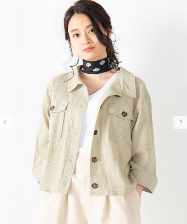 WE GO 楊柳クロップドシャツ8分袖シャツ